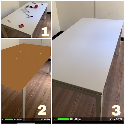 Images of a white table used as an example to ARKit plane recognition