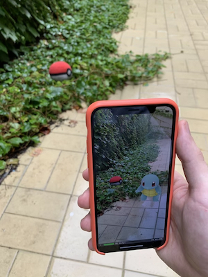 Image of an iPhone showing a virtual pokemon