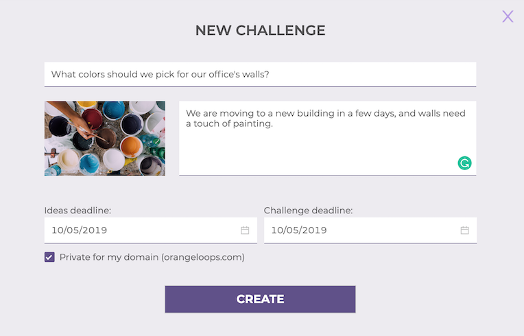 Screenshot of the creation of challenges in IdeaSource