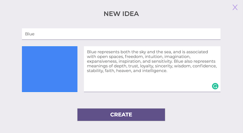 Screenshot of the creation of ideas in IdeaSource