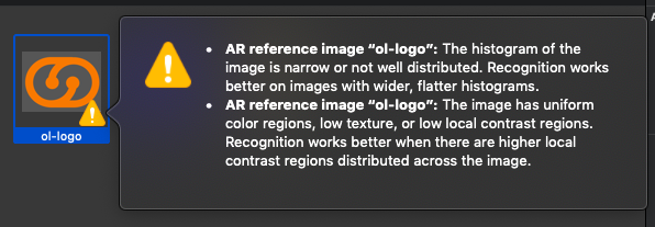 Xcode's alert message about image recognition