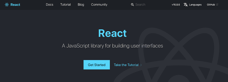 React official website screenshot