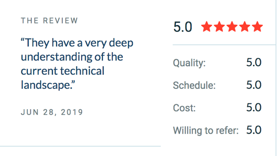 A screenshot of a review on Clutch
